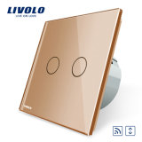 Interruptor alejado Vl-C702wr-11/12/13/15 de la cortina del tacto de cristal estándar del panel de la UE de Livolo