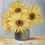 咲くヒマワリの純粋な手塗りのキャンバスの油絵
