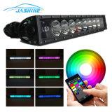 """22"""" 120W de la barra de luz RGB LED lámpara de trabajo 7D Aplicación Bluetooth& Mazo de cables de la barra de luz LED"""