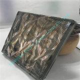 Tejido cuadrado negro Arte de vidrio con onda Pattered por encima de vidrio