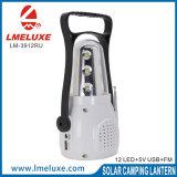 Solar de 12 LED de luz de linterna con radio FM
