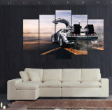 HD Druck 5 Stücke Segeltuch-Wand-Kunst Delorean zukünftige Druck-Malleinwand-moderne Hauptdekor-Wand-Kunst-Wohnzimmer-Dekor-