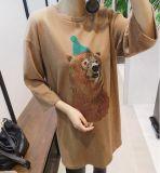 Maglietta sveglia del collo rotondo centrale del manicotto delle donne con stampa animale