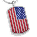 De Amerikaanse Tegenhanger van de Crematie van de Markering van de Hond van de Rechthoek van de Gravure van het Embleem van de Vlag voor As