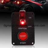 Comitato dell'interruttore di accensione della vettura da corsa 12V della fibra del carbonio, cambio di stato di funzionamento del pulsante +Red LED