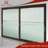 Gran panel de puerta corrediza de aleación de aluminio con doble vidrio templado