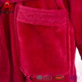 Vestido largo vendedor caliente de la albornoz del paño grueso y suave suave de la franela del collar de Minky