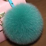 귀여운 분홍색 형식 Fox 모피 공 Keychain 또는 모자를 위한 모피 POM Poms