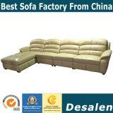 Suave al Tacto latina en forma de L Muebles de salón sofá de cuero auténtico (A18).
