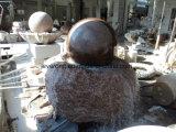 Elegante clássico lado entalhado Bola Rotativa de granito vermelho fonte de água