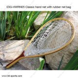 Rete di atterraggio di legno di pesca di mosca con il sacchetto di gomma 03G-Mxrn05, 03G-Hwrn05