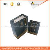 Bolso de compras de papel ULTRAVIOLETA de la marca de fábrica negra brillante de lujo de lujo de la manera