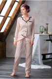 2017newデザイン女性のパジャマの下着の絹のパジャマのスーツの服