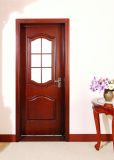 Vidro de madeira da porta da porta da madeira, porta francesa com painel da visão