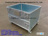 Dobrável galvanizado e estrutura de malha de arame de aço empilháveis palete para armazenamento de armazém
