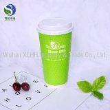 Zoll gedruckte doppel-wandiger Wegwerfkaffee-Papiercup mit Kappe (QS, SGS, FDA, FSC)