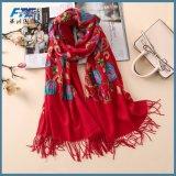Bordados Cashmere Lenços para as mulheres de Inverno Vintage lenços de pescoço longo Size Xailes