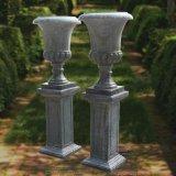 Urna di marmo verde intagliata mano con la base, per la decorazione del giardino