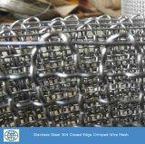 高品質のステンレス鋼304のひだを付けられた金網