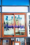 Fenêtres et portes en aluminium revêtues de poudres en bois avec moustiquaire en acier inoxydable
