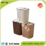 Double poubelle de plastique de poussée de couvercles de ventes chaudes