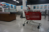 مغازة كبرى تقدّم تسوق يدحرج سلة بلاستيكيّة حامل متحرّك