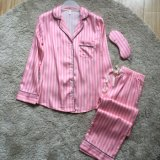 Superior qualidade Faux Silk Sleepwear Suit Strip pijamas com Eyeshade