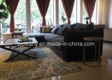 Sofà moderno del cuoio del nero del sofà del salone (D-74)