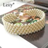 Da jóia Handmade da forma das mulheres do Choker do Weave da pérola colares elegantes simuladas brancas