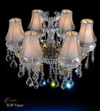 Het Huis van de manier/Verlichting van de Kroonluchter van het Plafond van het Kristal van het Hotel de Gouden, de Gouden Buis van het Glas met K9 de Dalingen van het Kristal