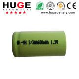 batteria ricaricabile dell'idruro del metallo del nichel di 2/3AA 1.2V 600mAh NiMH per gli indicatori luminosi emergency