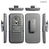 3 in 1 TPU+PC hybrider Fall-Blende Kickstand Pistolenhalfter-kombiniertem Riemen-Klipp-Kasten für Motorola E5 Supra/E5plus