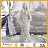 De geschoold arbeiders sneden het Witte Marmeren Beeldhouwwerk Maagdelijke Mary Statue van de Godsdienst