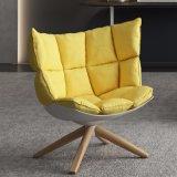 Tecido moderno banco de lazer de repouso cadeira com amarelo