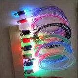 Cabo de dados do carregador USB de 1 metro com luz de cor intercambiável