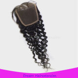 Chiusura svizzera riccia della parte superiore dei capelli umani del Virgin del merletto di vendita di Brazilain della chiusura calda del merletto