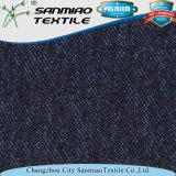 Tela hecha punto teñida hilado barato del dril de algodón del diseño del precio que hace punto último para los pantalones vaqueros