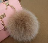 Bille synthétique de fourrure avec le trousseau de clés de Pompom de fourrure de Fox de Faux d'oreilles