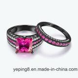 De zwarte Rhodium Reeks van de Ring van de Juwelen van de Manier van het Plateren Roze 925 Zilveren