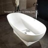 De matte/Glanzende Freestanding Witte Stevige Badkuip van de Steen van de Oppervlakte Kunstmatige (BS-8616)