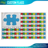 Gestrickte Polyester-kundenspezifische dekorative Autismus-Bewusstseins-Garten-Markierungsfahne (J-NF06F11006)