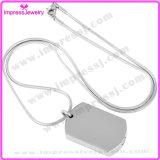 Collar blanco de la placa de identificación de acero colgante Urna para cenizas del animal doméstico del recuerdo de la joyería titular de la cremación (IJD8416)