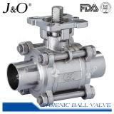 Válvula de esfera sanitária Three-Piece da T-Braçadeira com a almofada de montagem ISO5211