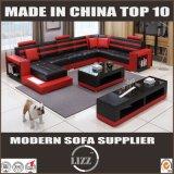 フォーシャンのフルセットの家具の大きいサイズUの形の革ソファー