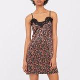 Мода женщин V-образный вырез Sexy тонкий напечатано кружевом платье скольжения