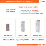 bateria tubular 2V 800ah Opzv2-800 da potência solar do gel de 2V800ah VRLA