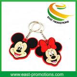 주문 Mickey 모양 연약한 PVC 고무 열쇠 고리 승진
