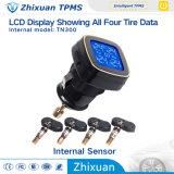 TPMS coche inalámbrico de la presión de los neumáticos de monitorización de la pantalla LCD 4 sensores internos de cigarrillos Lighte