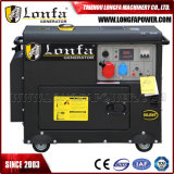 5kw / 6.5kVA refrigerado por aire generador diesel silencioso con doble disyuntor