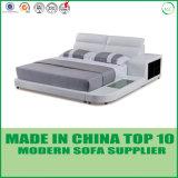 新しい到着の寝室セットの寝室の家具の灰色の革ベッド